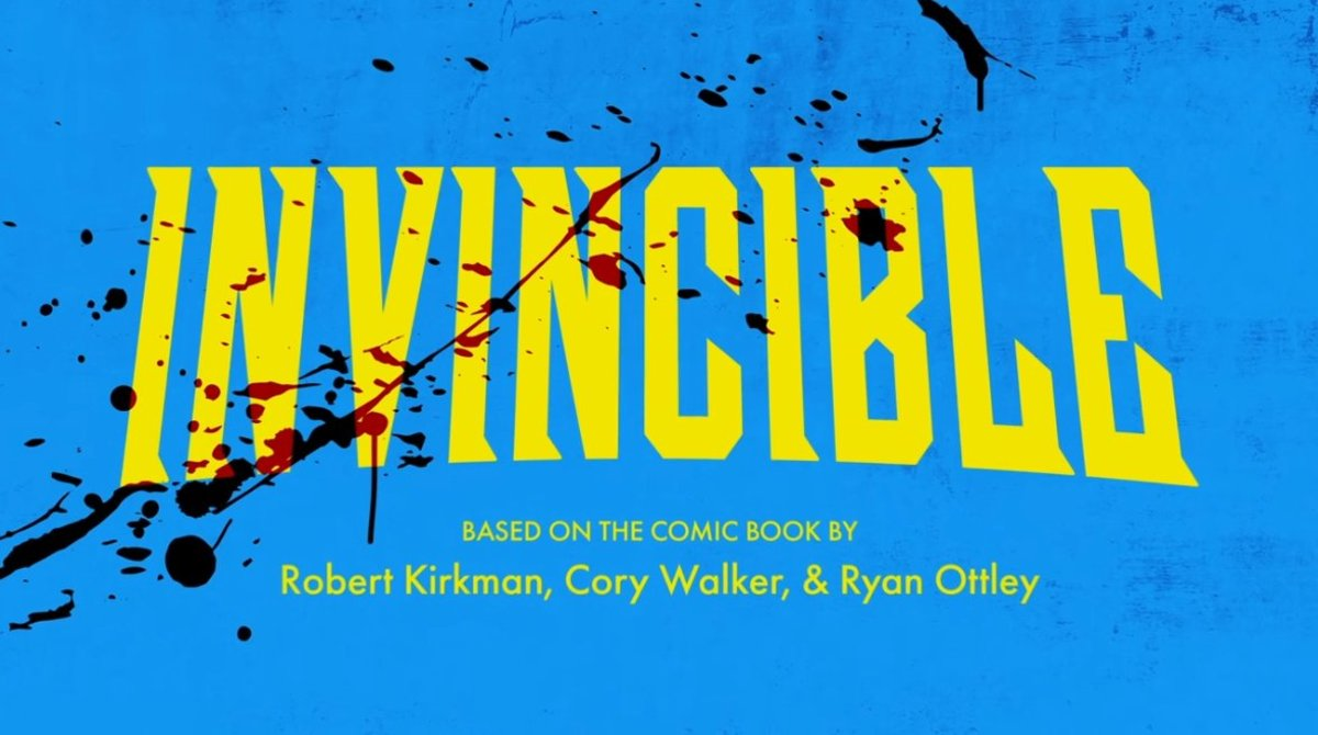 Invincible's recurring title card, getting bloodier every episode.