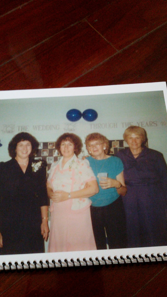 From left to right:  Aunt Mary, Aunt Donna, Aunt Sissy, and my mother