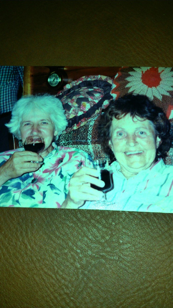 My mother is on the left and Aunt Laura on the right.  Picture taken in 1993