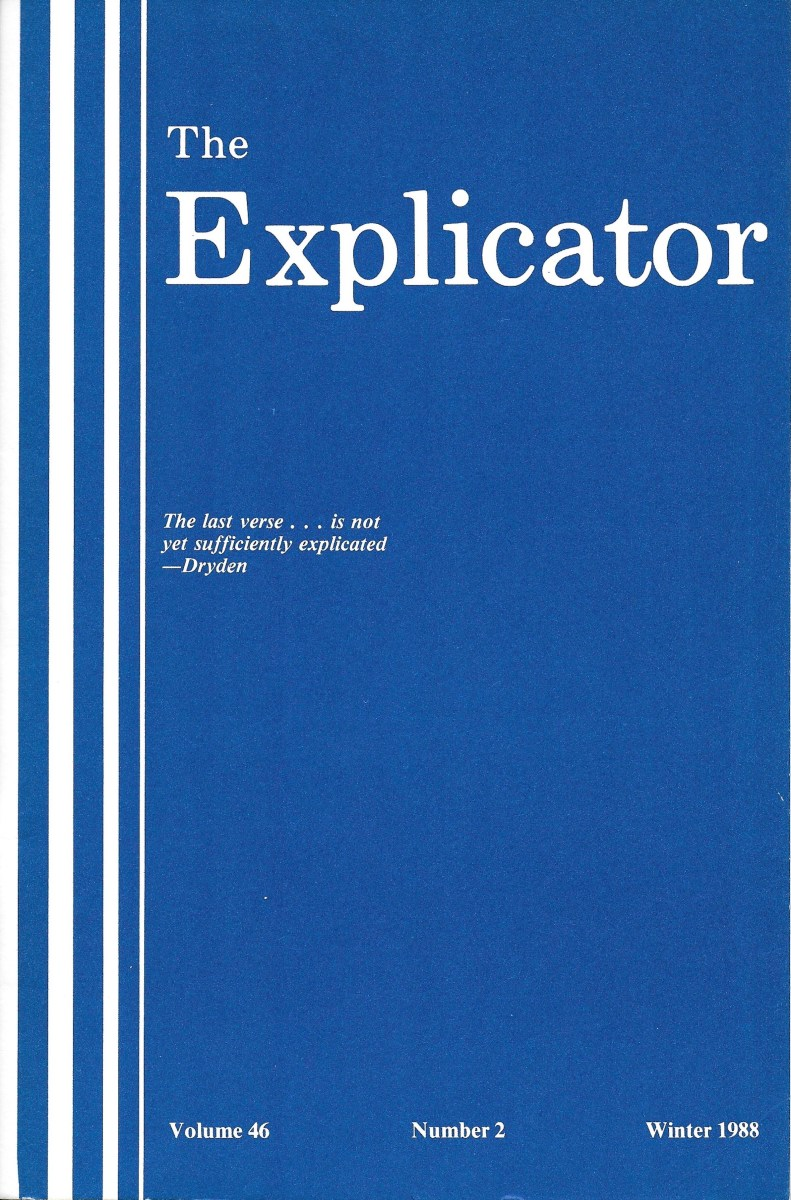 """Personal copy of """"The Explicator"""" in which appears my article, """"D.H. Lawrence's WOMEN IN LOVE."""""""