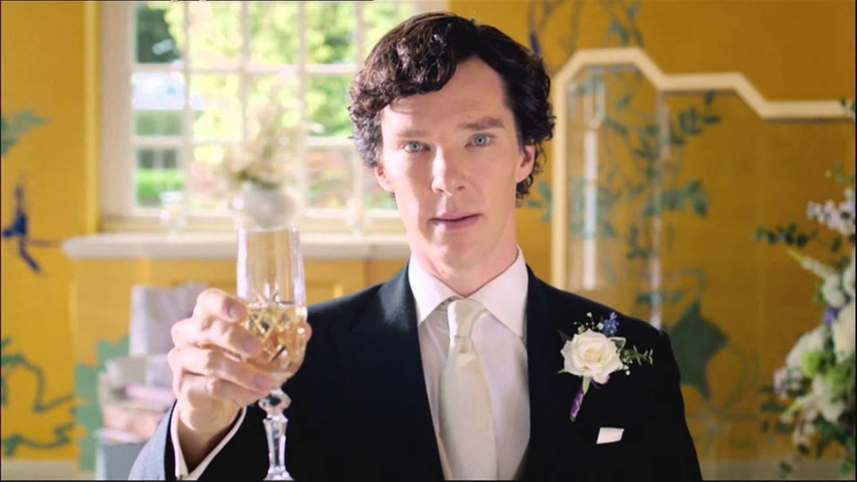 Sherlock giving the Best Man's speech at John's wedding.