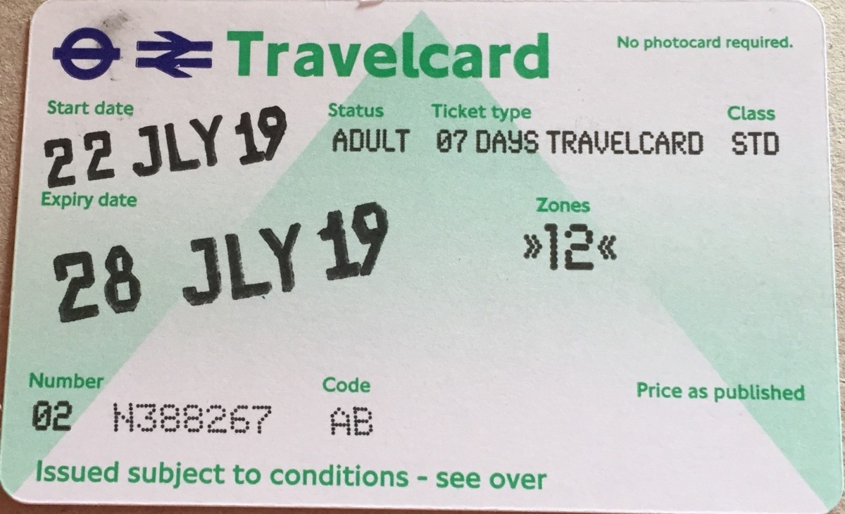My Travel Card for 7 days in London.
