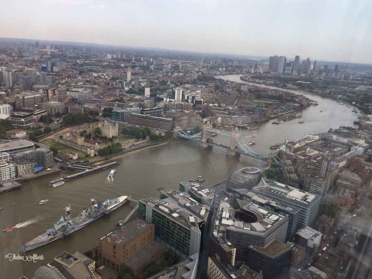 The Thames river. View from The Shard.