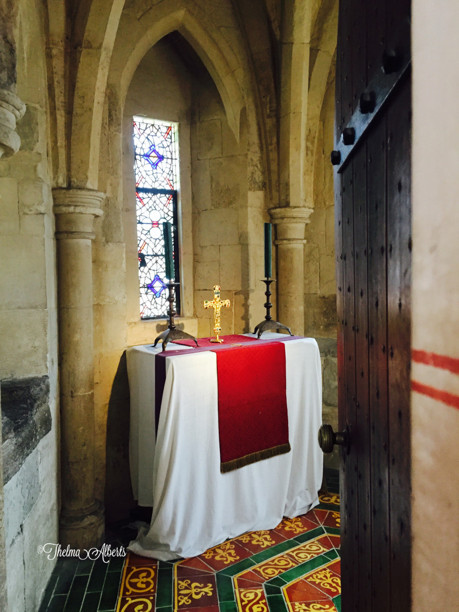 The altar in the Kings chamber in Medieval Palace in the Tower of London.