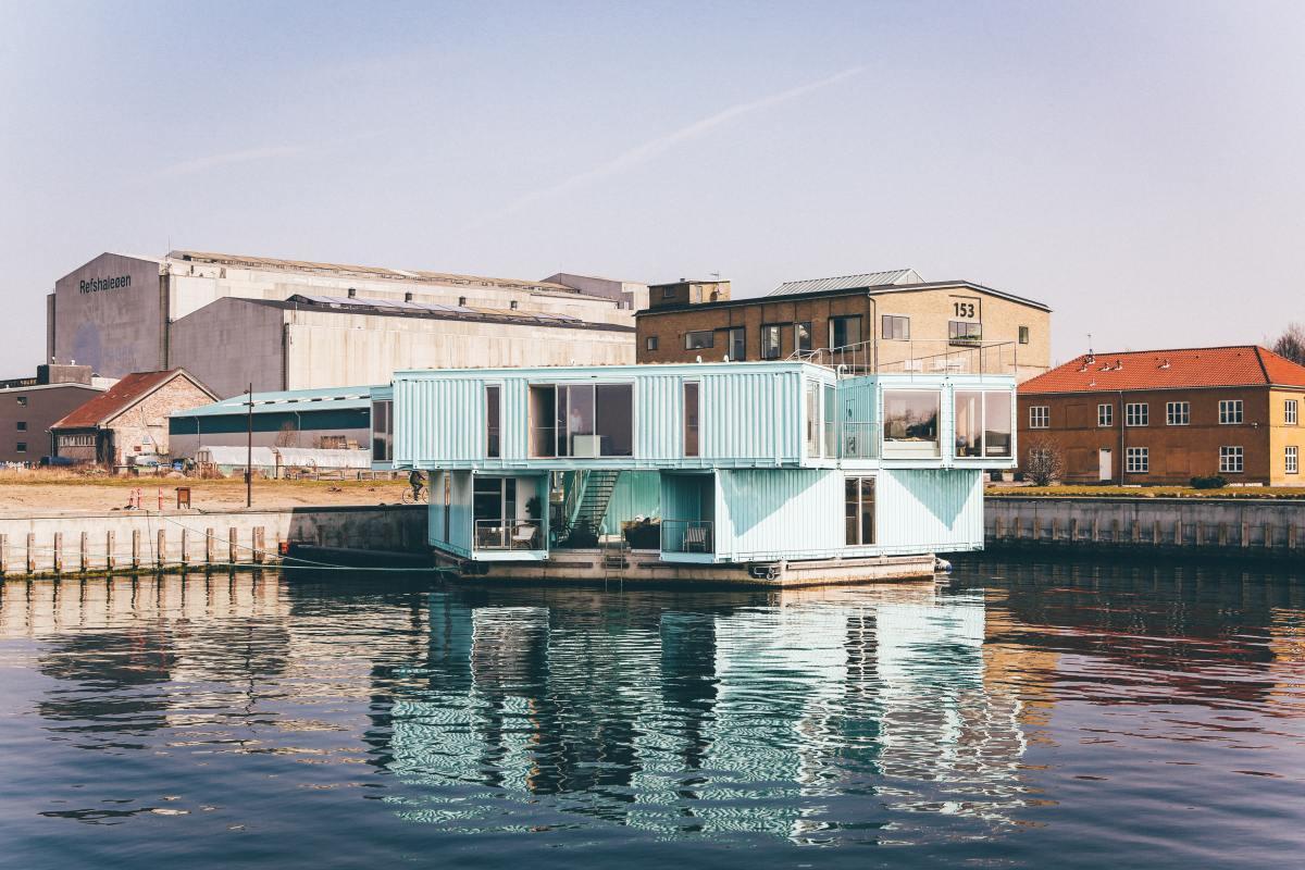 A shipping container boathouse in Copenhagen, Denmark.