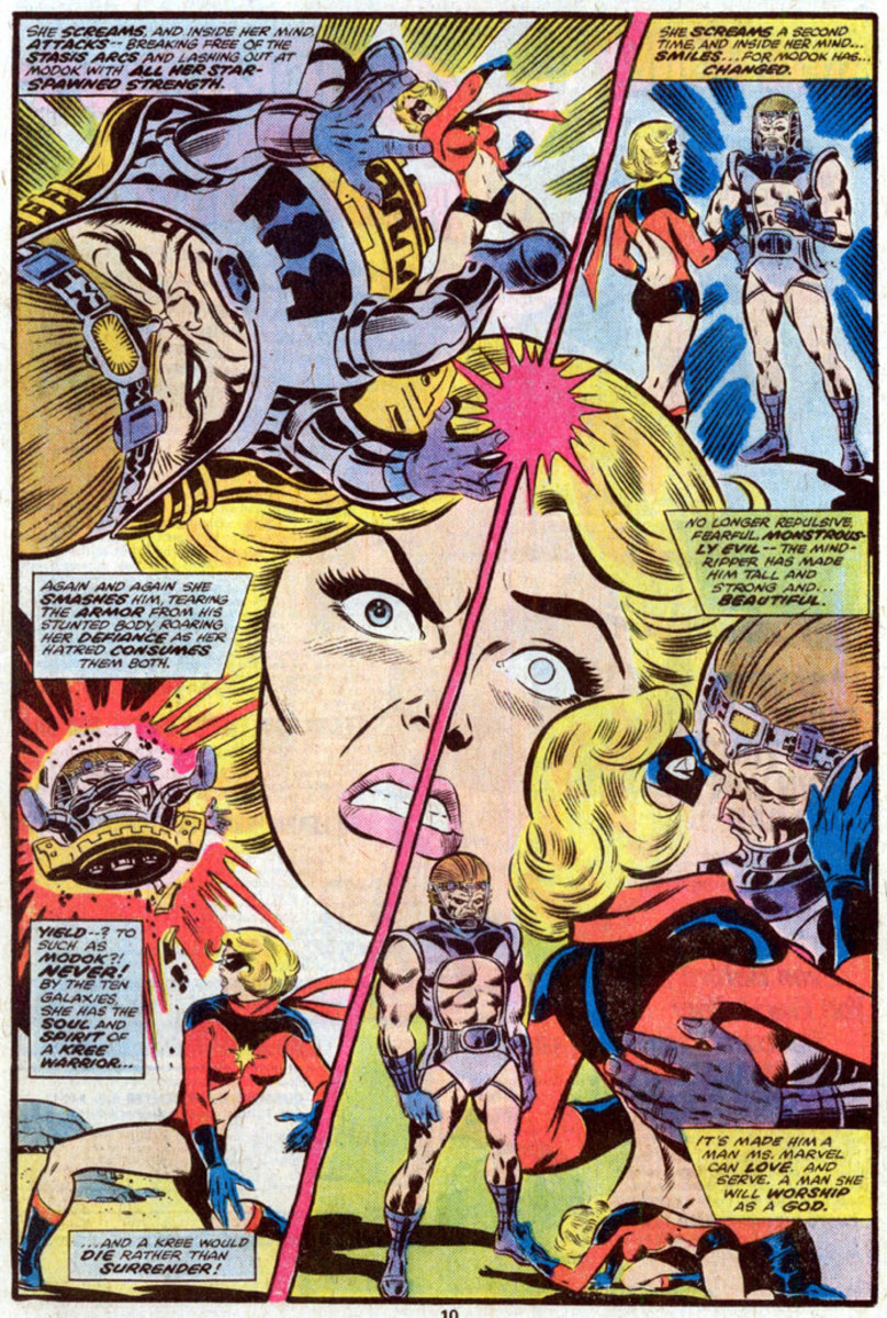 Carol Danvers (Ms. Marvel) mentally seduced by MODOK - Mental Organism Designed Only for Kissing, I guess.