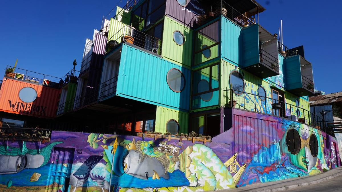A shipping container home in Valparaíso, Chile.