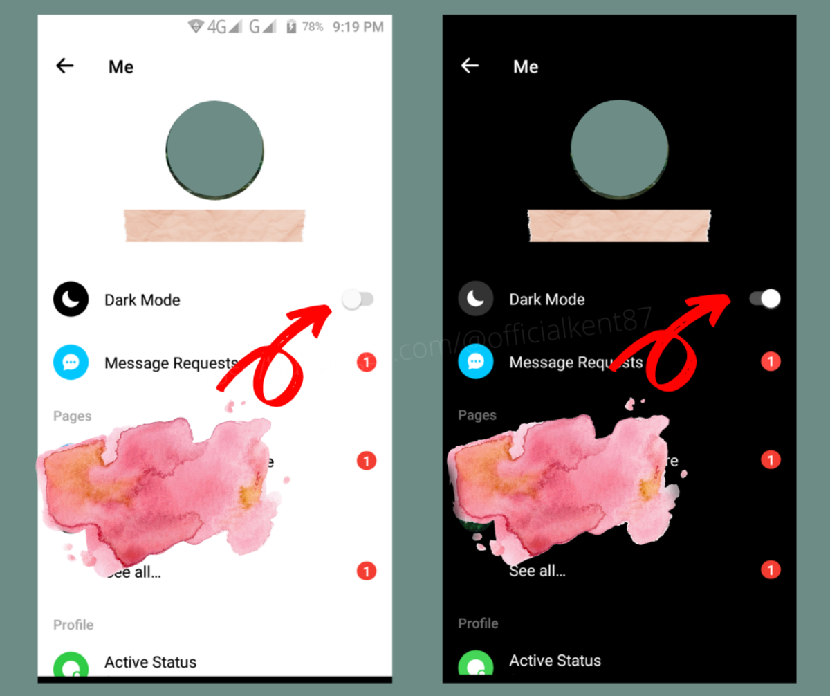 Enable dark mode in Facebook Messenger for Android.