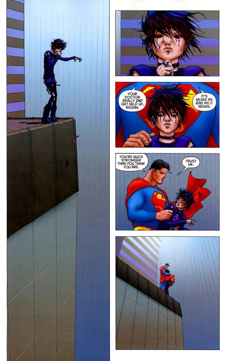 Superman is not Jason Voorhees he's meant to represent the best in humanity who doesn't just stop  supervillains terrorists but has the time to stop and help a depressed girl from jumping into the abyss.