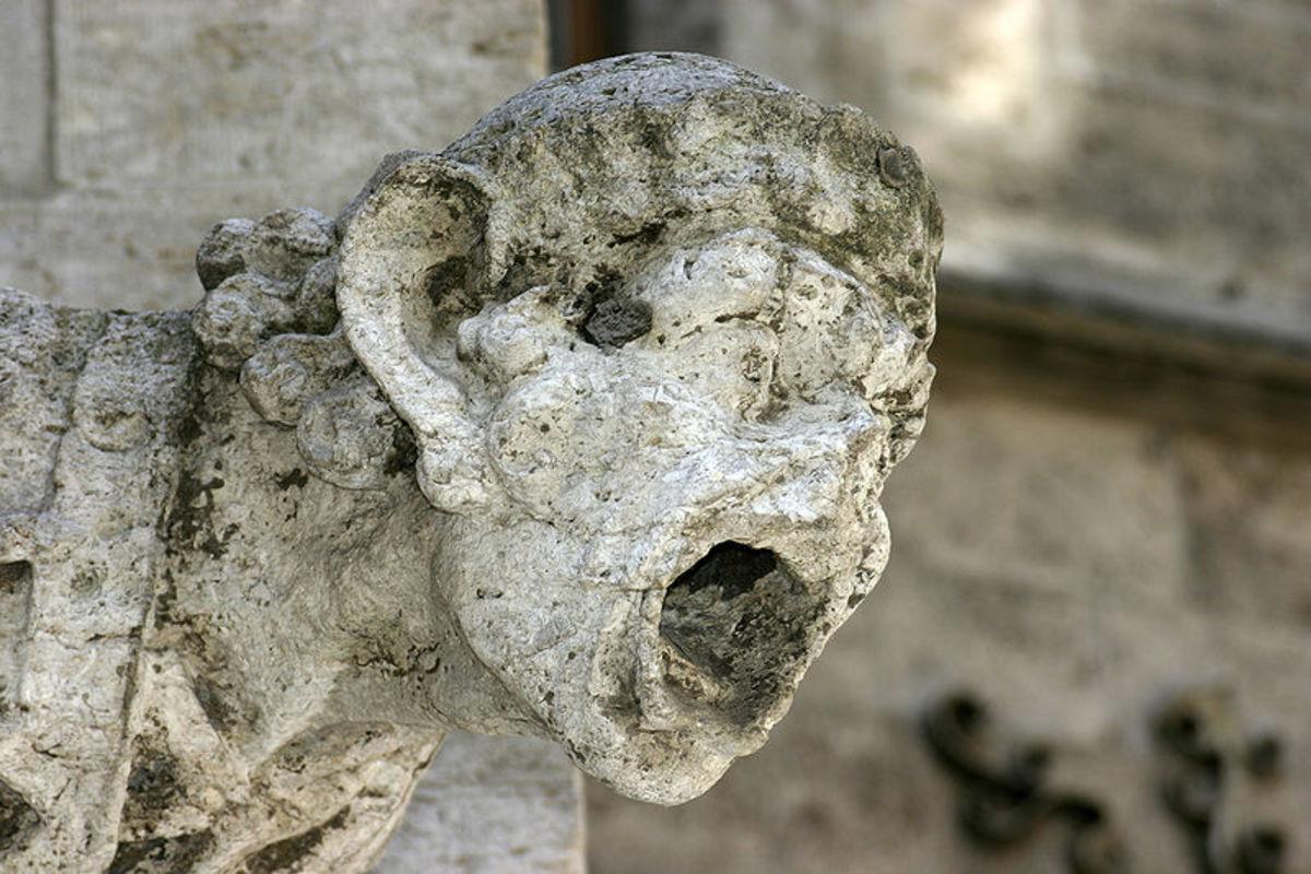 Gargoyle damaged by acid rain