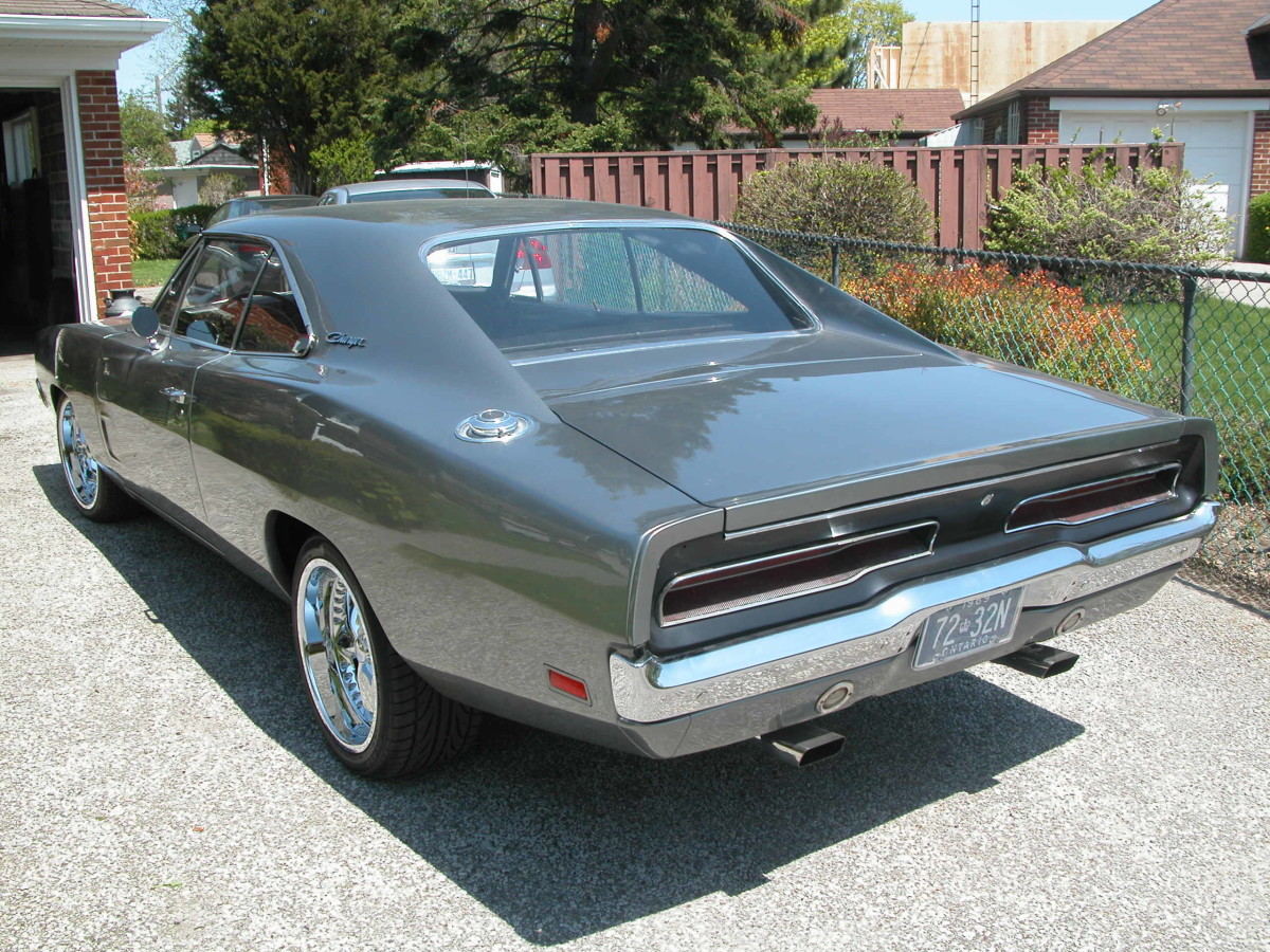 1969 Dodge Charger restoration - rear view with original 1969 license plates
