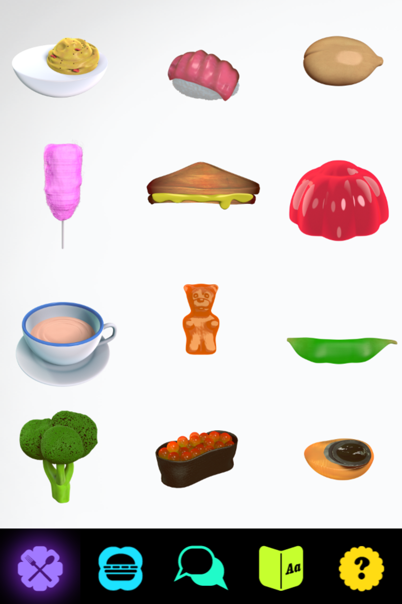 Screenshot of the iPhone app showing the pantry and some of the things you can choose to feed your Furby.