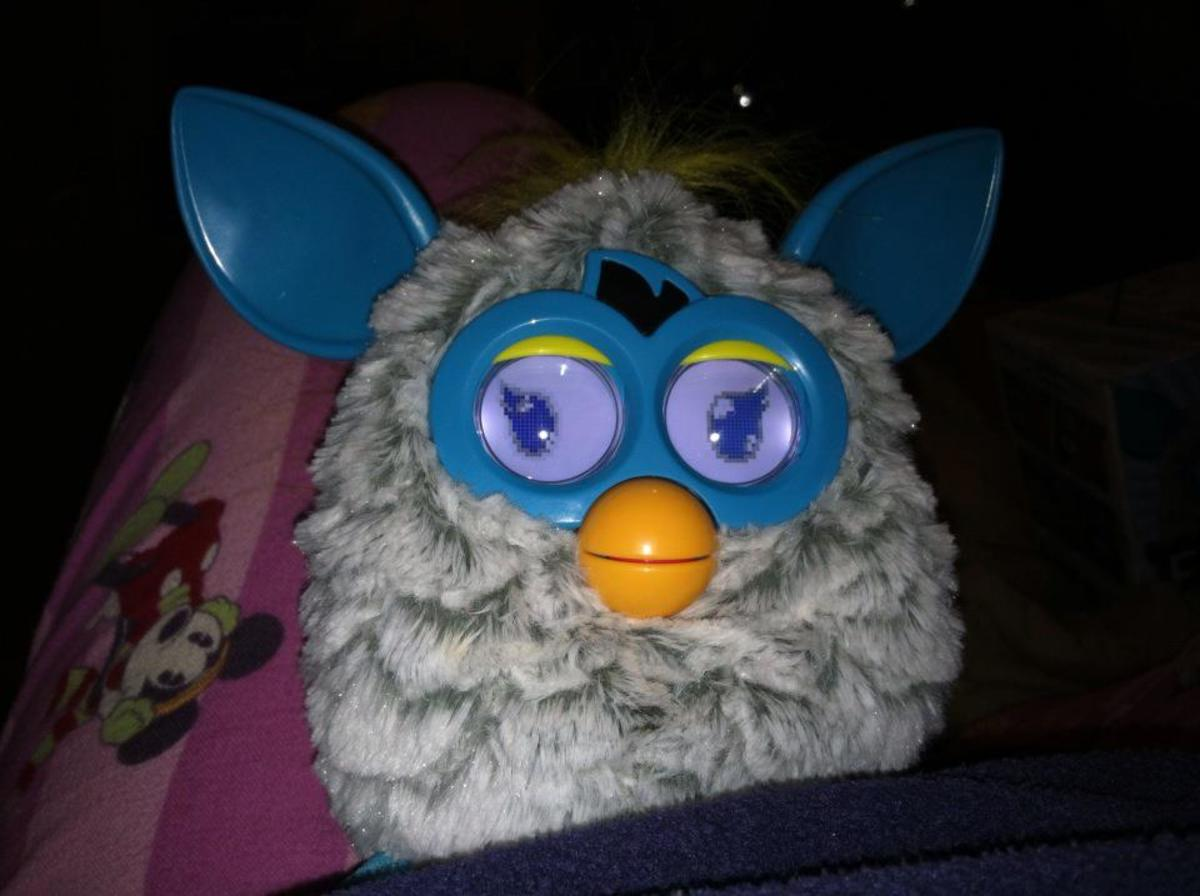 ElderFurby on Christmas Eve, before the nastiness started.  Please ignore the Mickey Mouse pajamas.