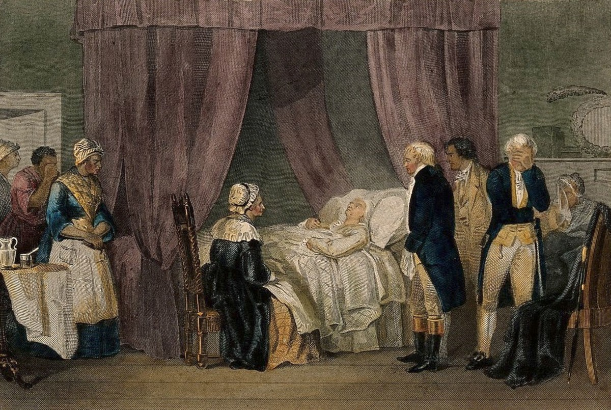 George Washington on his deathbed attended to by his family, friends, and doctors.