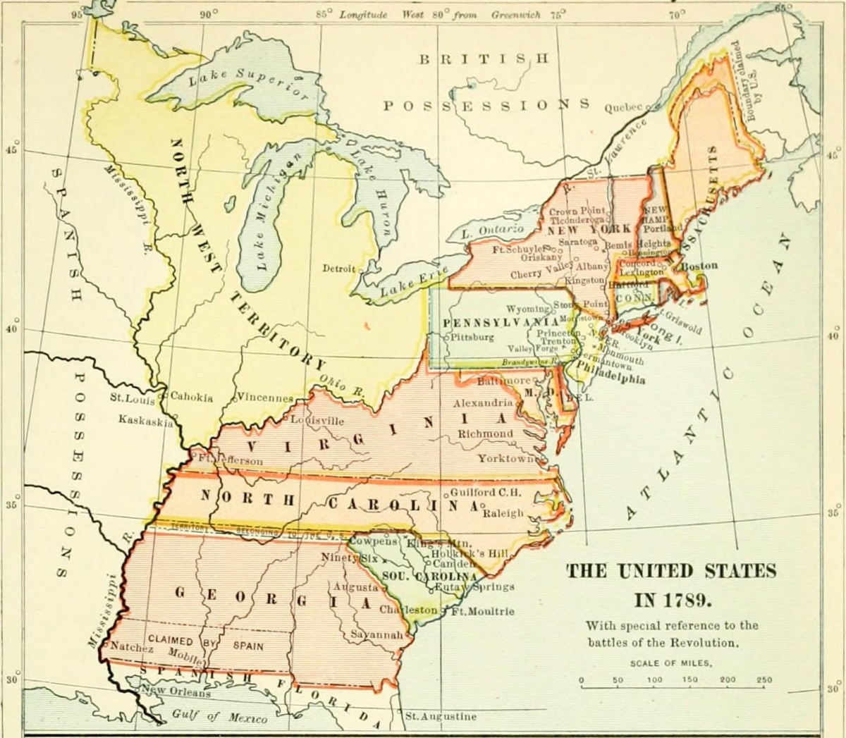 Map of the United States in 1789.