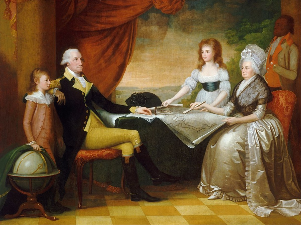 An 18th century painting of George and Martha Washington with their adoptive children, George Washington Parke Custis and Nelly Custis, as well as one of their slaves.
