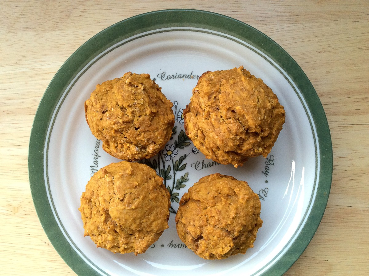 Pumpkin spice muffins made with whole wheat flour and brown, unrefined sugar