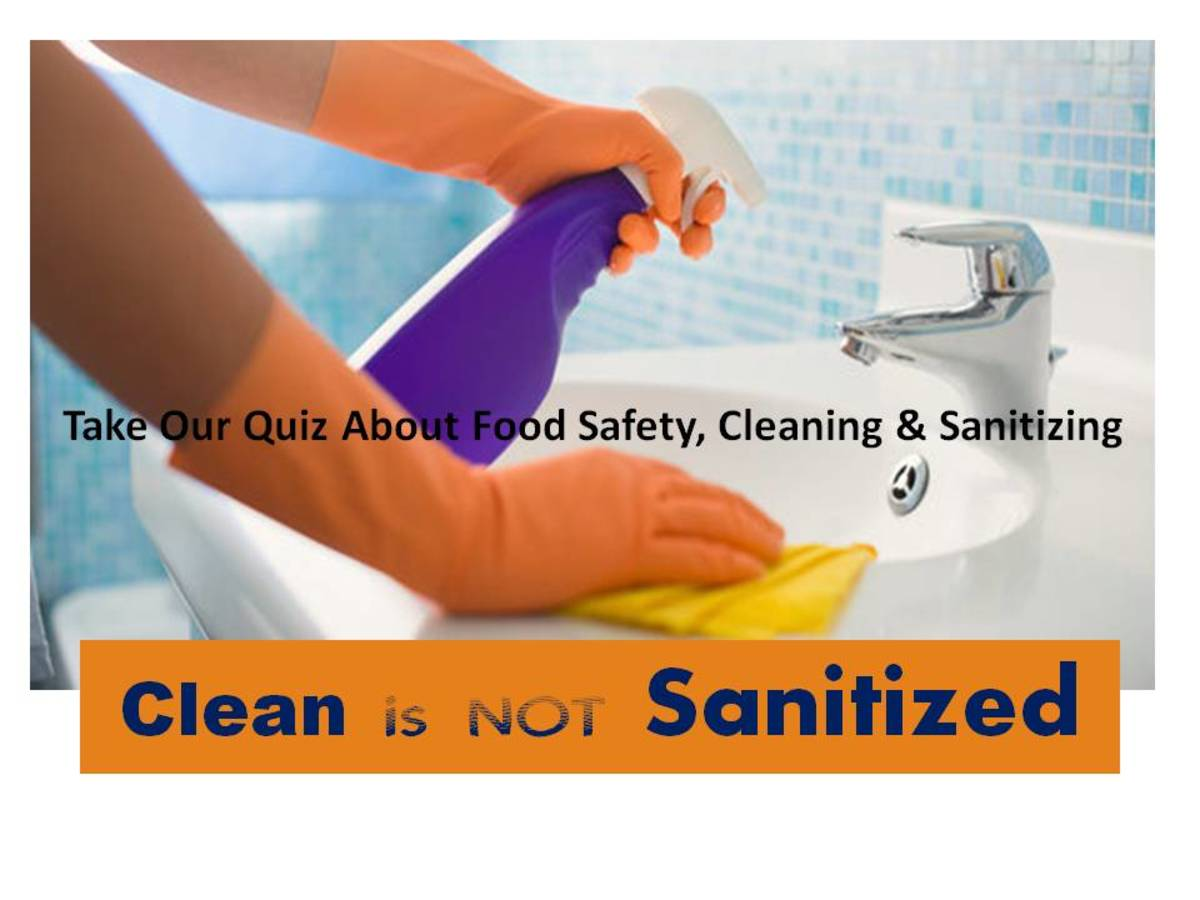"colorful poster with orange rubber gloves, purple spray bottle with the words ""Take our quiz on food safety, cleaning and sanitizing - Clean is not sanitized"""