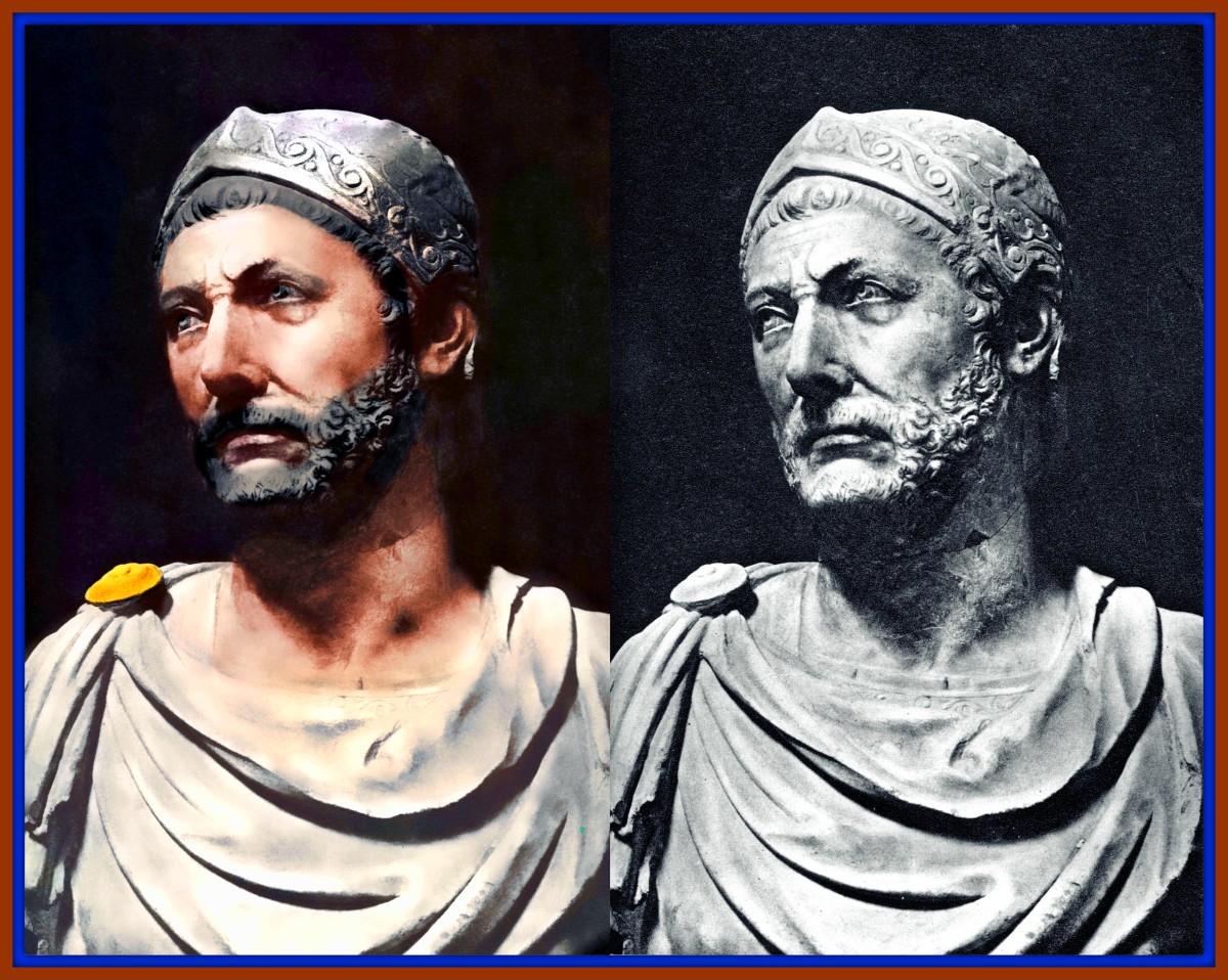 Colorized Image of a Bust of Hannibal Barca, the Famous General of Ancient Carthage