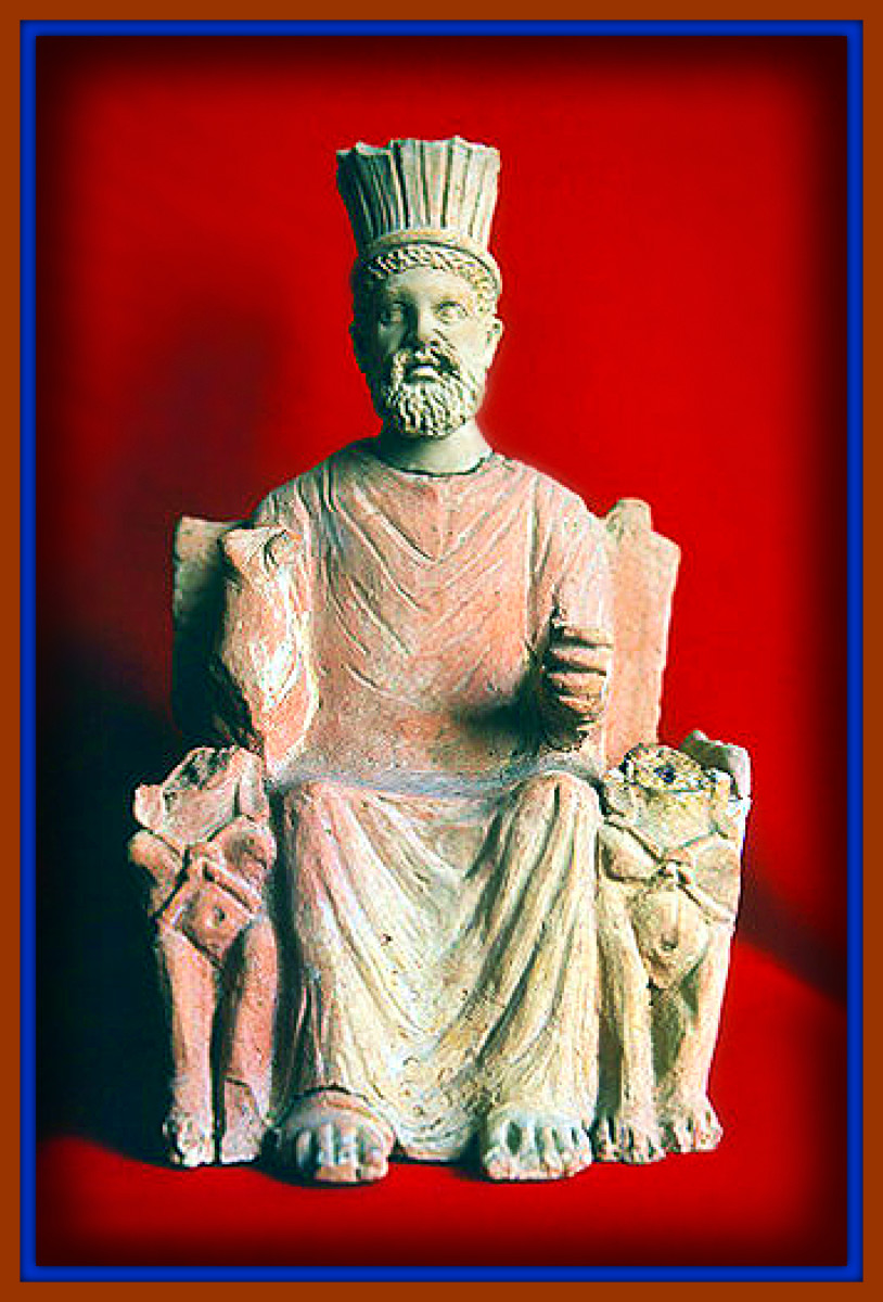 Baal Hammon, the head male god of Carthage, god of sky and vegetation, this is a first century statue of him.