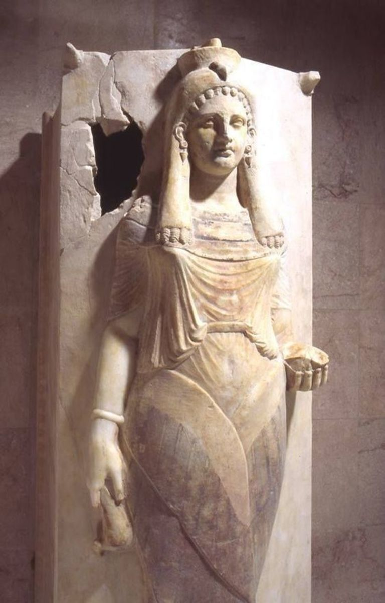 Sarcophagus Lid with Representation of a Priestess or a Winged Lady. This Carthaginian sculpture dates around the 4th-3rd century BC. This masterpiece was made of marble and found at Carthage.