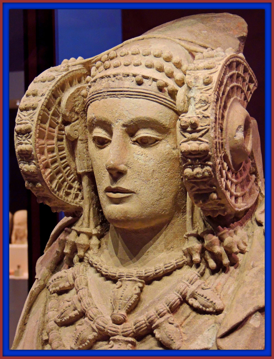 Carthaginian Colony Sculpture the Lady of Elche, many believe she is  a representation of Tanit, the goddess of Carthage.