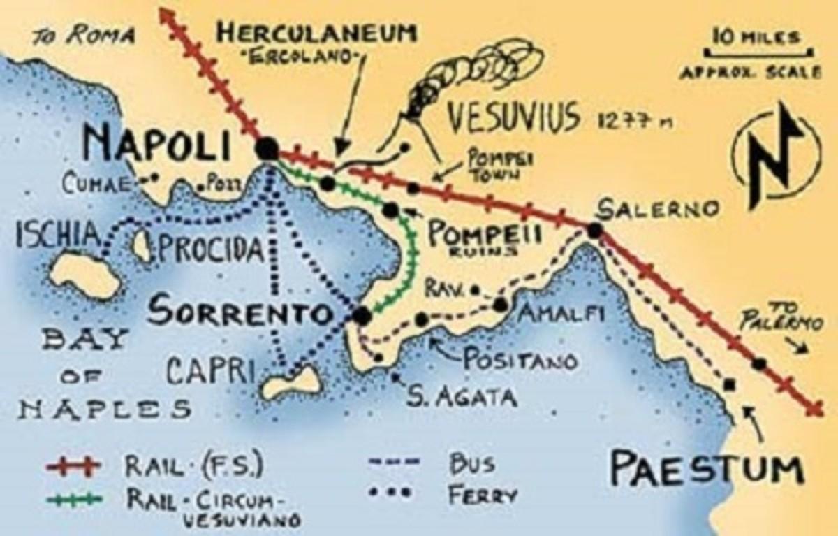 Map showing the location of Positano, the Isle of Capri, and the Amalfi Coast