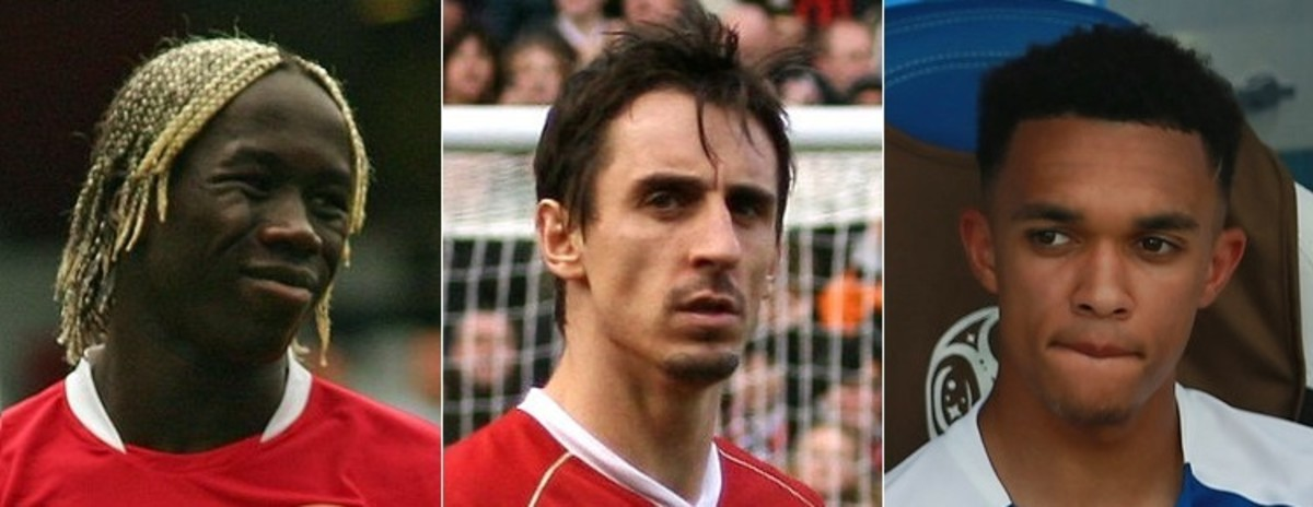 Bacary Sagna, Gary Neville, and Trent Alexander-Arnold (left to right)