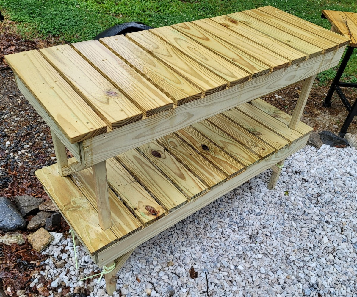 A look at the finished two-tier outdoor table.