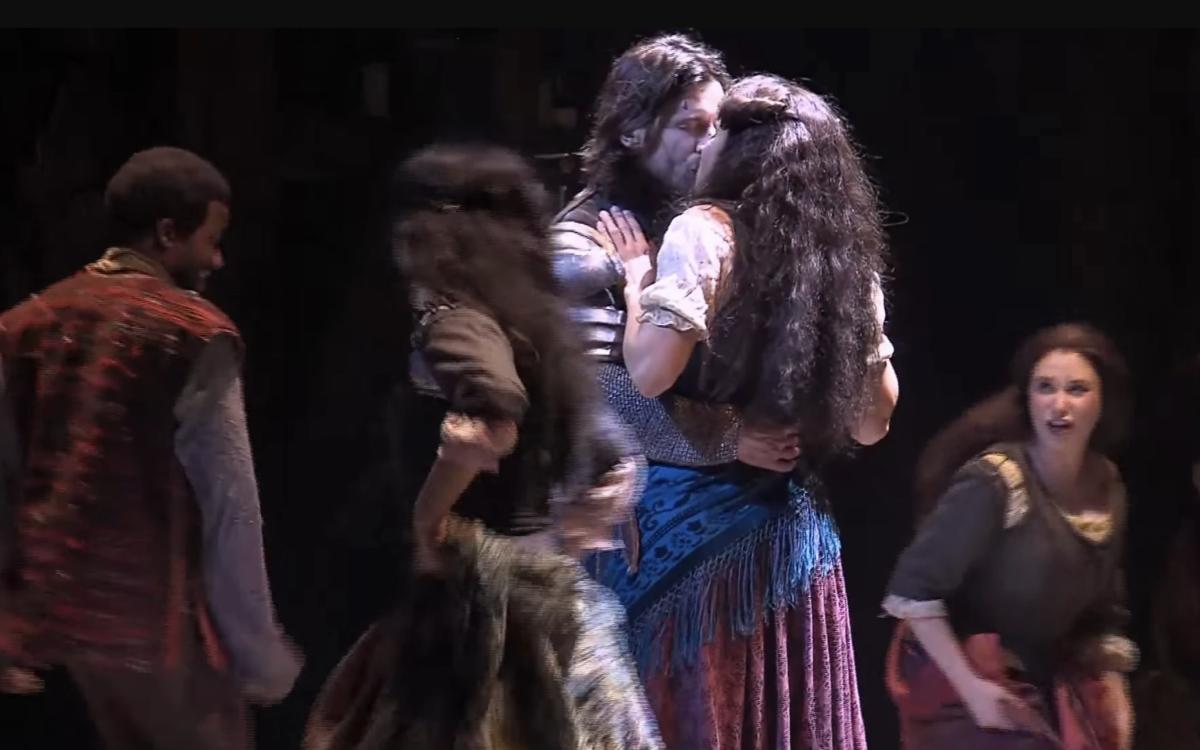 Ciara Renee as Esmeralda &  Andrew Samonsky as Phoebus, Disney's The Hunchback of Notre Dame, La Jolla Playhouse