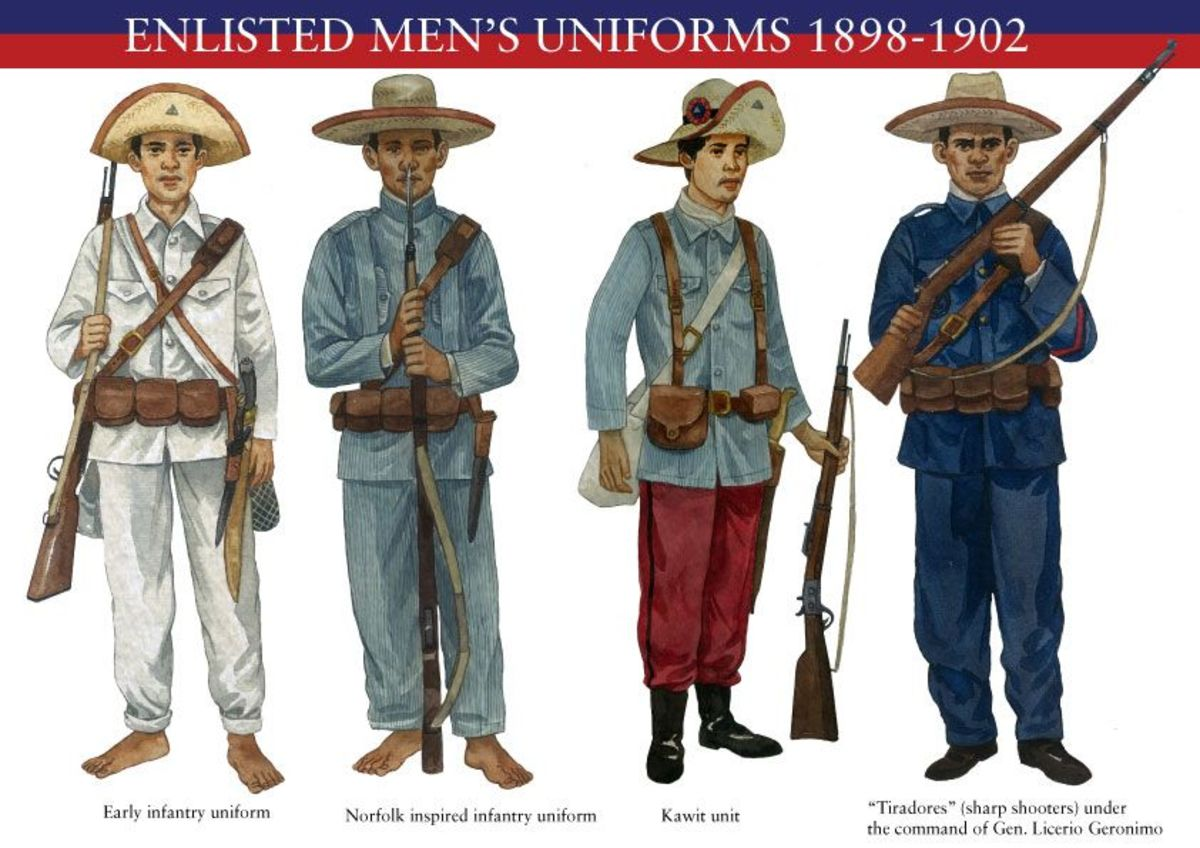 Various uniforms worn by enlisted men during that period. The Tiradores is shown on the far right.