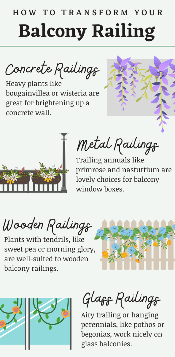 Depending on what kind of railing your balcony has, you may want to choose different plants (for example, a glass railing won't be strong enough to support a heavy plant like wisteria).