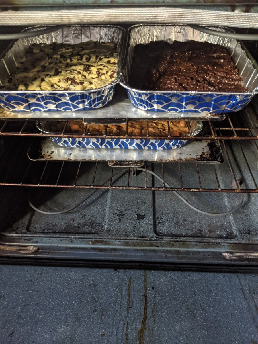 All 3 pans in oven. Baking sheets underneath for support.