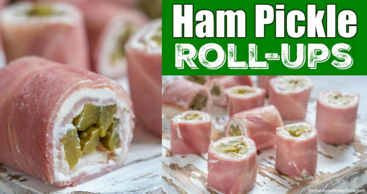 Ham and pickle roll-ups can be eaten as an appetizer or a snack.