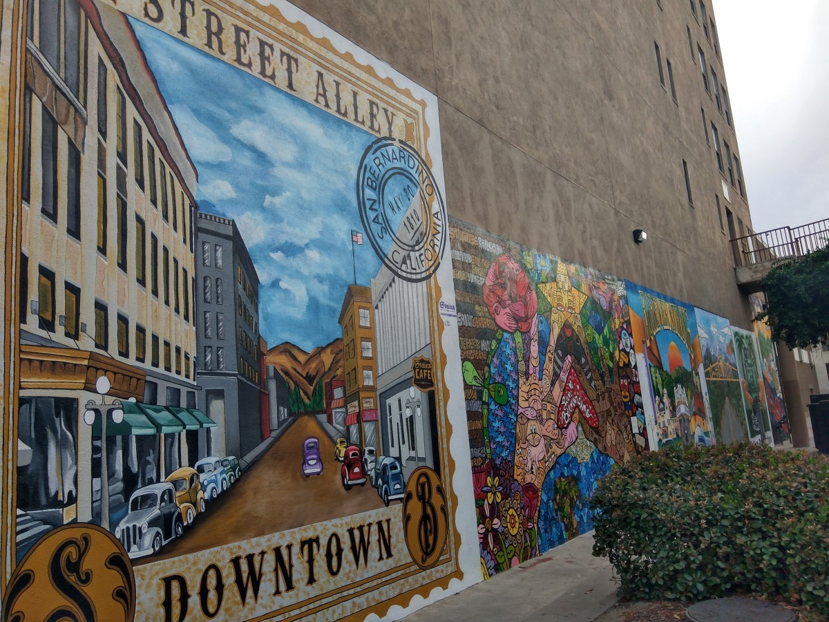 A view of several of the murals on the north side of The Enterprise Building.