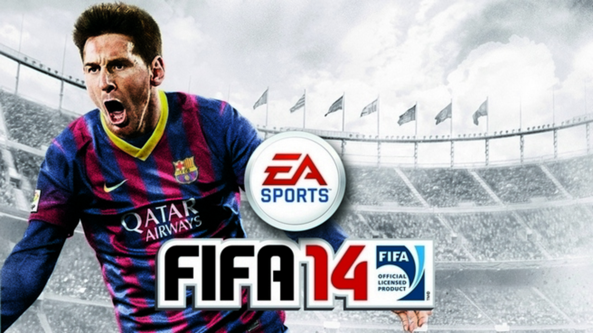 The global cover of FIFA 14, featuring Lionel Messi.