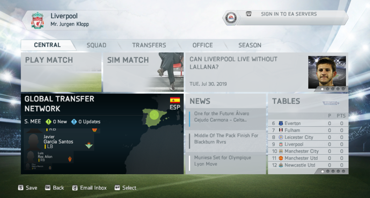 Current User Interface (UI) for FIFA 14 all the way to FIFA 16.