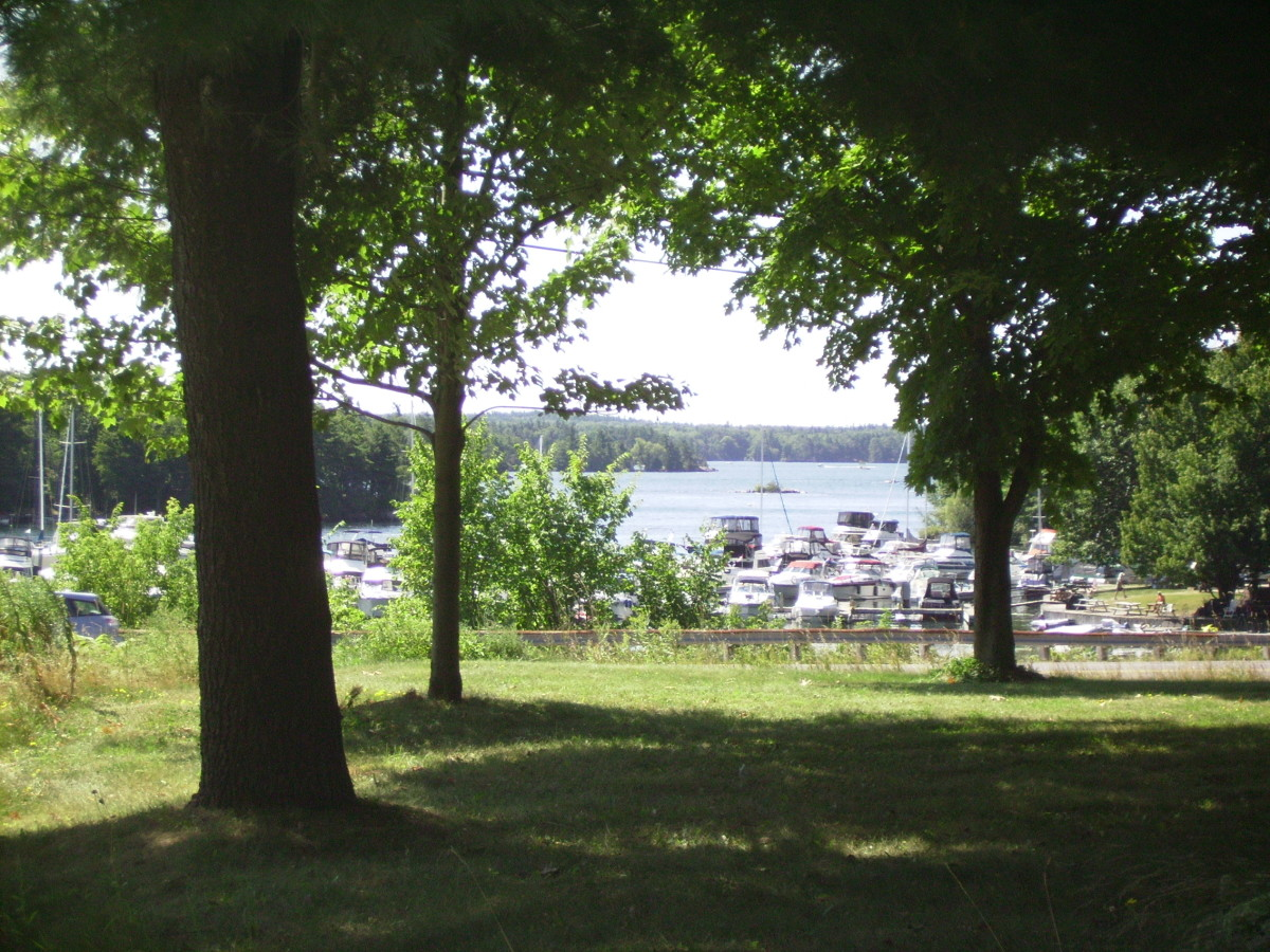 View of 1000 Islands and St. Lawrence River from front yard of Ivey Homestead in Ivy Lea, Ontario, Canada.