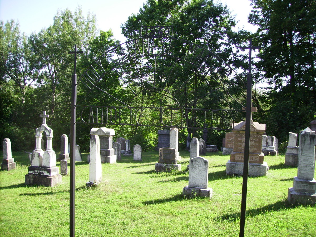 Tombstones in Holy Japanese Martyr's Cemetery in Phillipsville, Ontario, Canada.