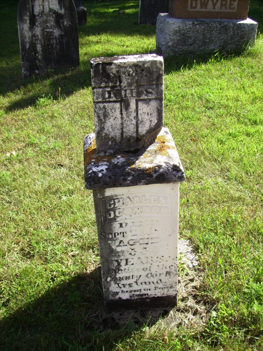 Grave of Charles O'Connor (1810-1865) in Holy Japanese Martyrs Catholic cemetery in Phillipsville, Ontario, Canada.