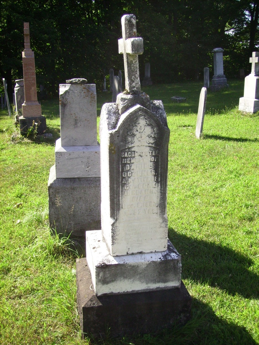 Grave of Daniel and Bridget O'Connor which is next to that of Daniel's brother Charles O'Connor in Holy Japanese Martyrs Catholic Cemetery in PHillipsville, Ontario, Canada.
