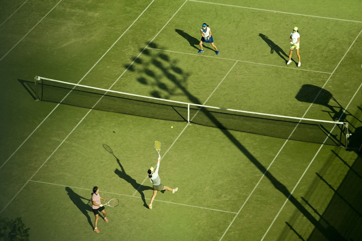 Tennis doubles. Generally speaking, doubles is less mentally and physically stressful than singles, but more complicated in terms of strategy, tactics, and co-ordination.
