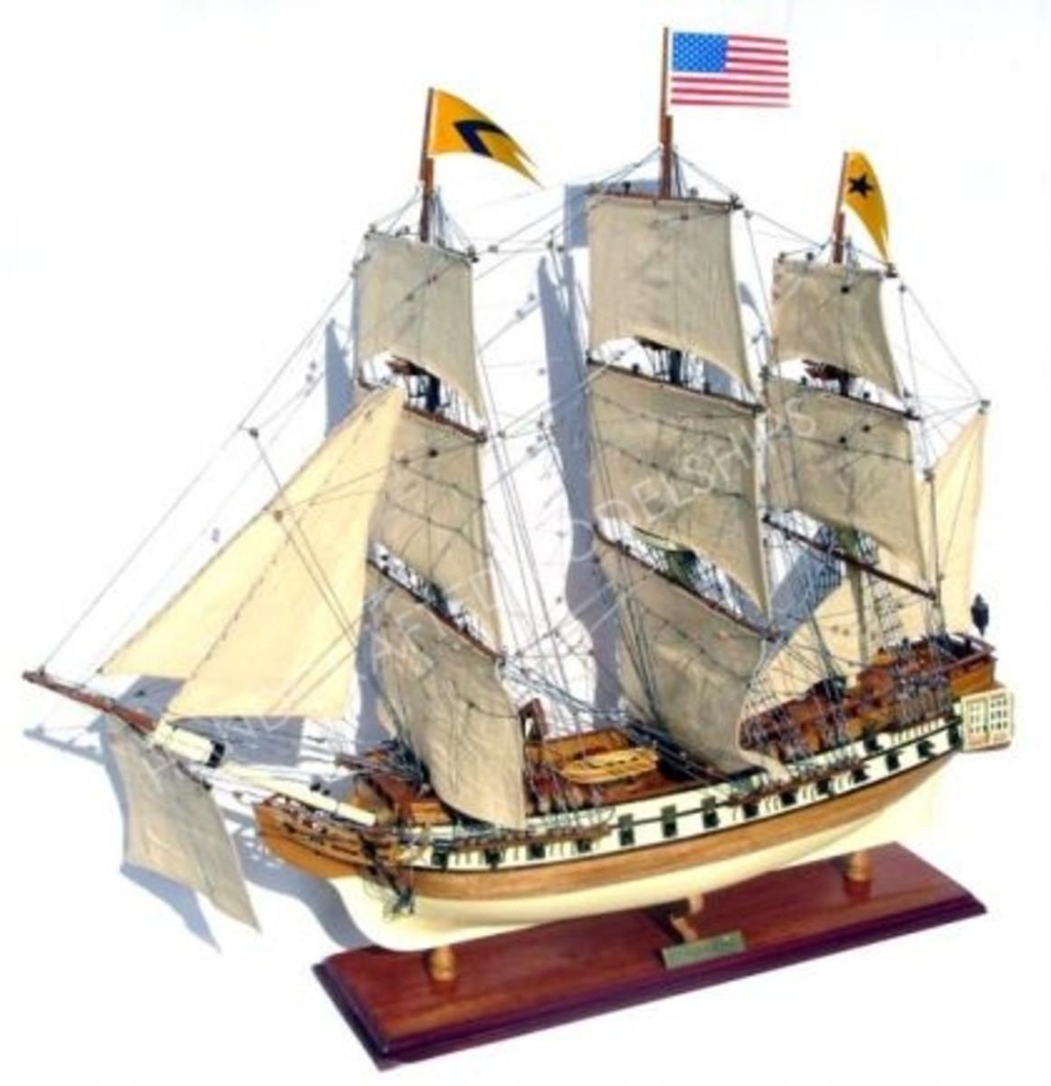Assembled Model of the Original Frigate: USS Bonhomme Richard. Fought against the Serapis at the Battle of Flamborough Head. http://www.handcraftedmodelships.com/uss-bonhomme-richard-boat-model3.php