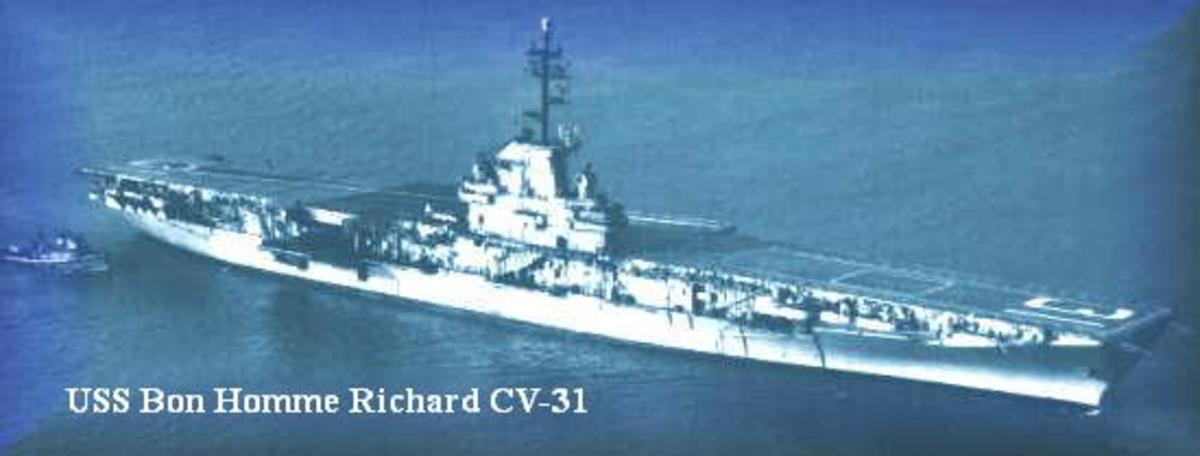 """Nicknamed """"Bonnie Dick"""" back in the day. She was designated as (CV-31) before her deck was modified for Jet Fighters in 1953.(Becoming CVA-31)Former crewman, Ken Gustofson stated she was the only Aircraft Carrier to serve in WWII, Korea, and Viet Nam"""