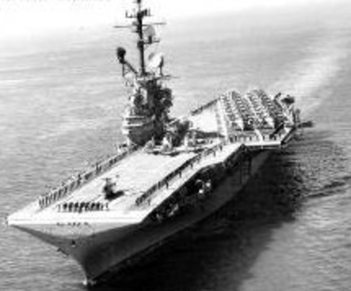 (*)U.S.S. Bonhomme Richard (CVA-31) Here she is patrolling Asian Waters...as she did through most her career.