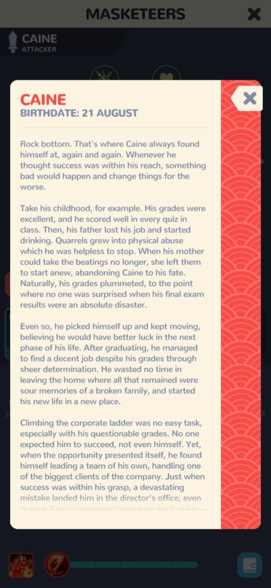 Caine's story. This is one of the less depressing ones.