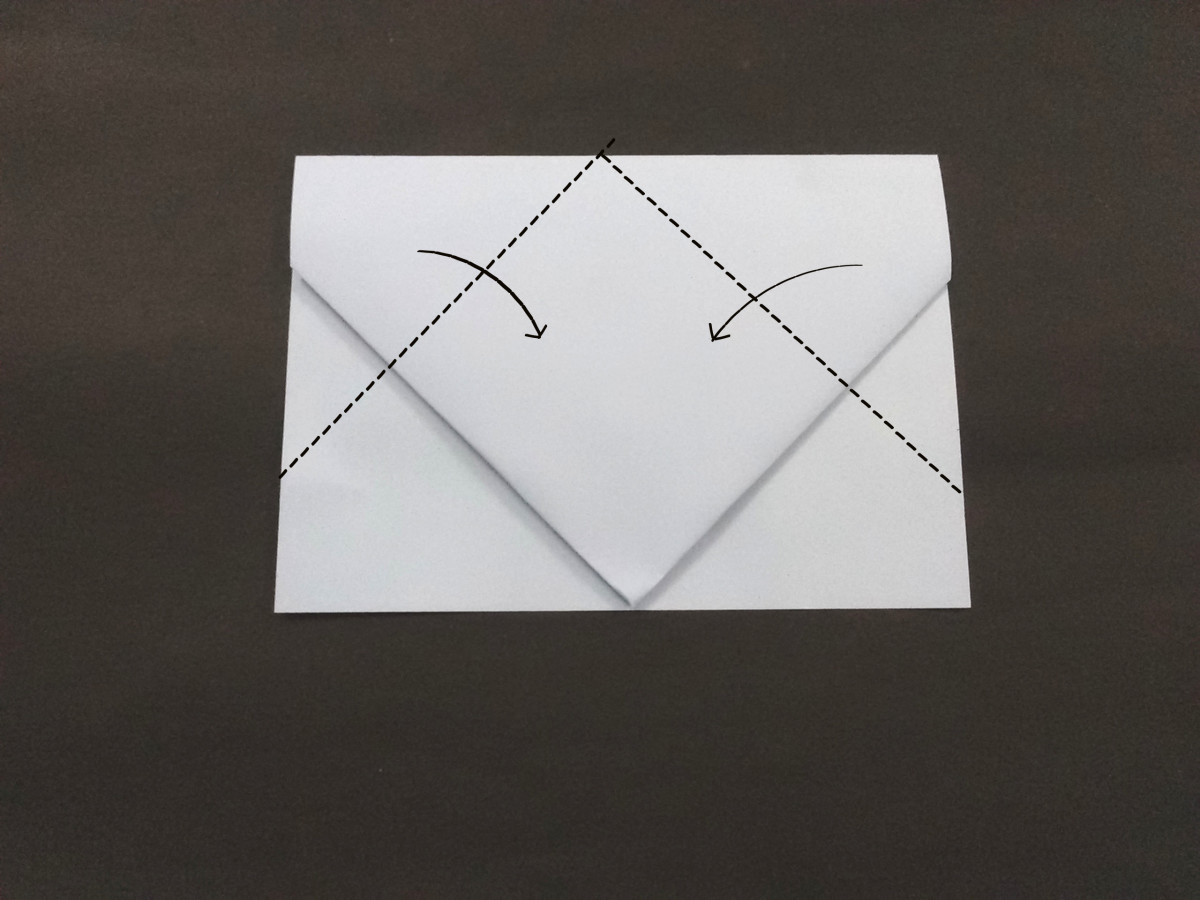 Next you need to fold the corners again and  notice that they meet in the middle.