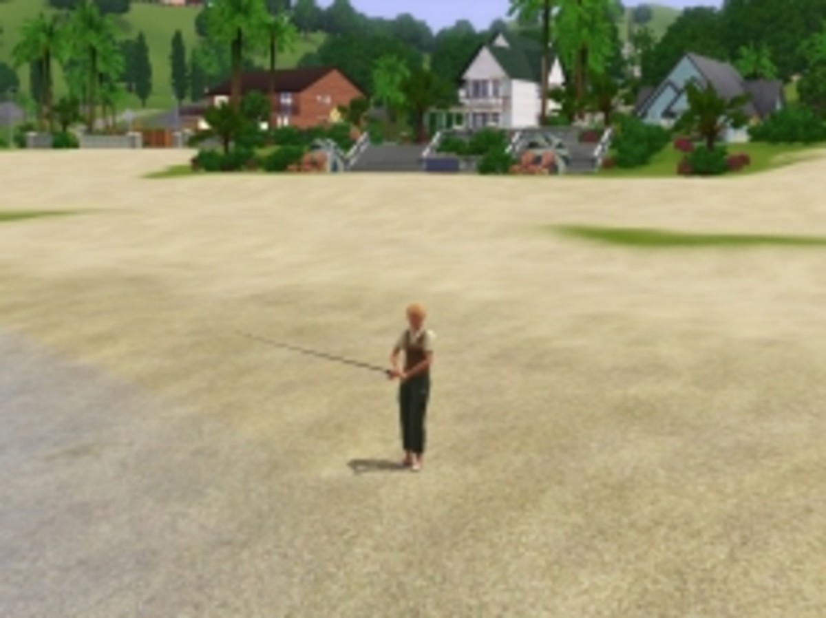 Justine Pettit fishes at Old Pier Beach in Sunset Valley (The Sims 3)