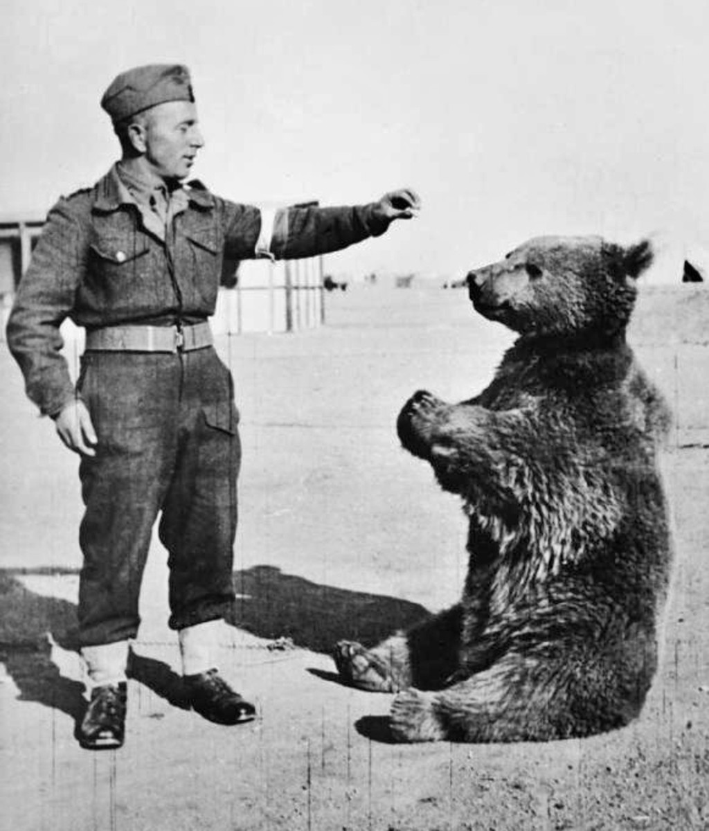 Wojtek with one of his handlers.