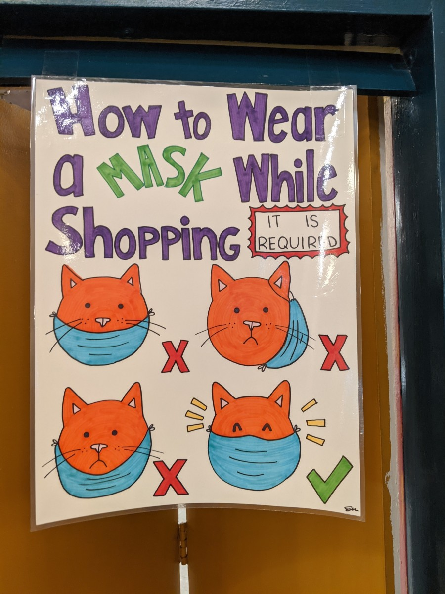 Sign in a store with instructions on how to properly wear a mask